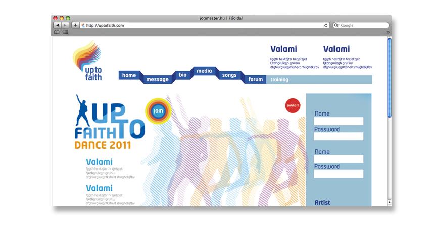 Up to Faith weboldal | Weboldal design